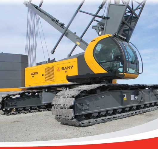 Up close view of a yellow Sany SCC8200 crane provided by ATX Cranes.