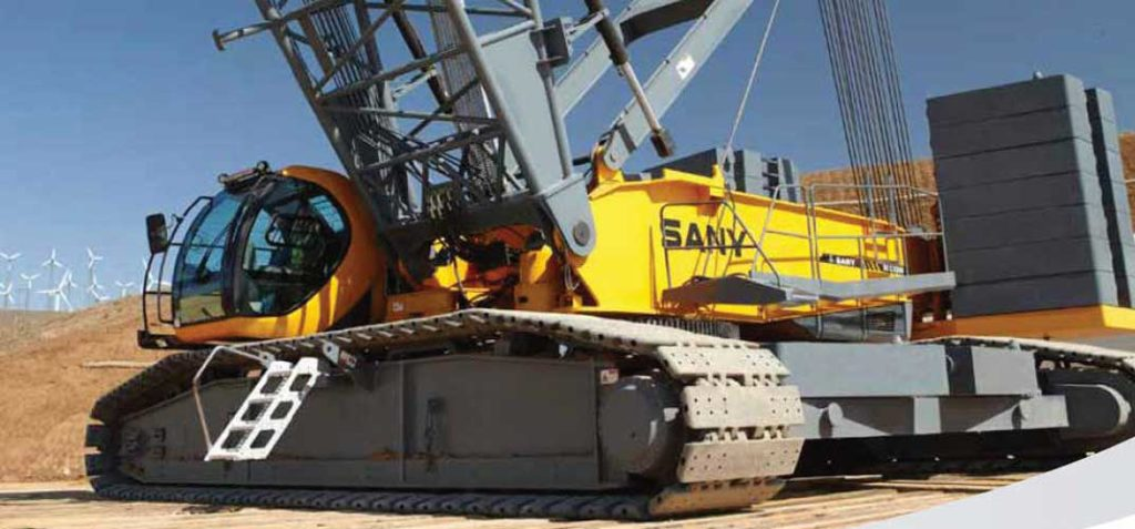 Up close view of a yellow Sany SCC8300 crane provided by ATX Cranes.